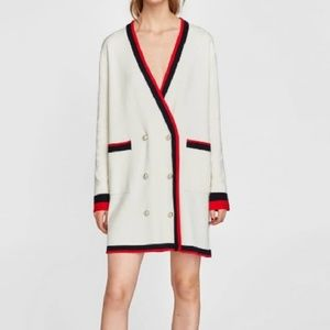 ZARA DOUBLE BREASTED JACKET WITH PEARL BUTTONS L